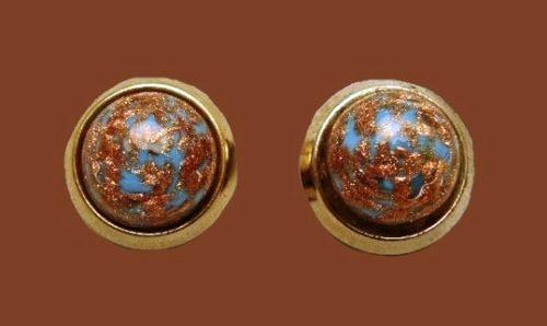 Blue Adventurine Earrings Glass with Gold Flecks