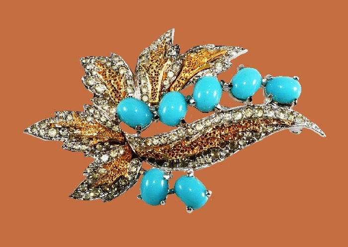 Blue glass, clear rhinestones leaf brooch