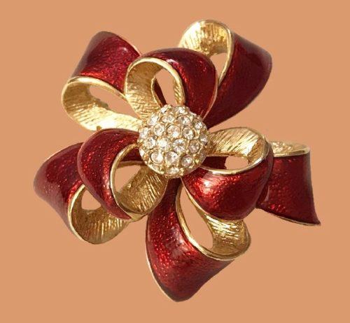 Bow enameled brooch