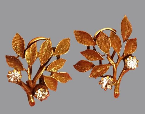 Branch with leaves clips on earrings. Gold tone jewelry alloy, crystals