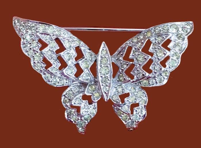 Butterfly brooch. Silver tone metal, rhinestones