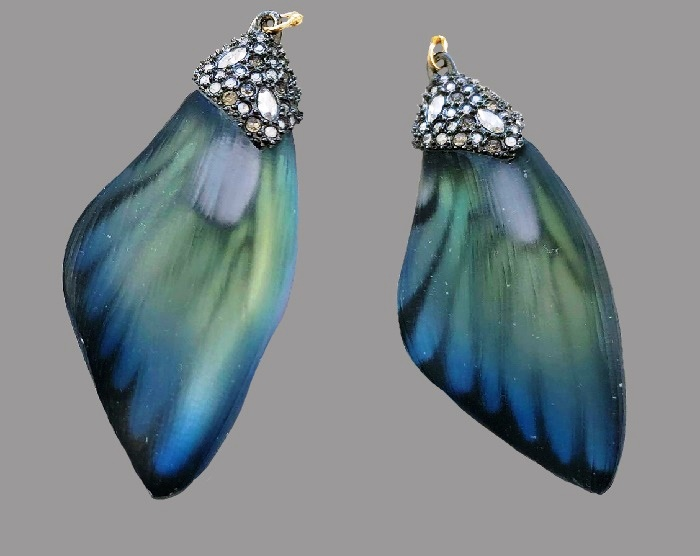Butterfly wings lucite earrings, vintage