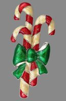Candy Cane Bow enameled brooch