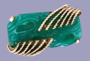 Carved green jade brooch, gold tone jewelry alloy