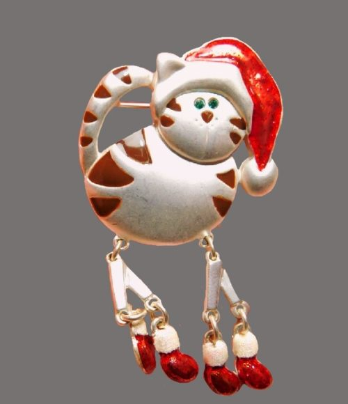 Charming cat brooch. Red and white enamel, jewelry alloy