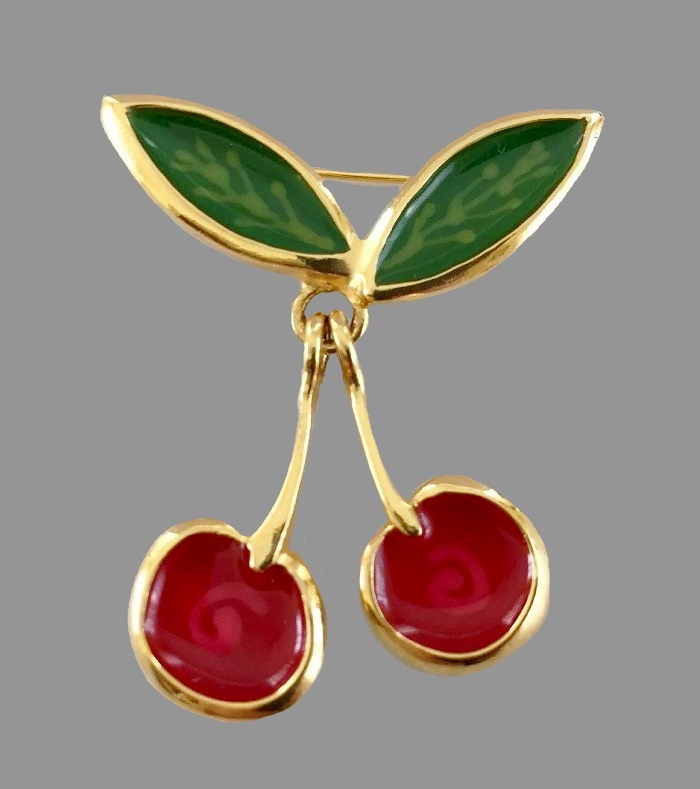 Cherry brooch. Jewelry alloy of gold tone, enamel