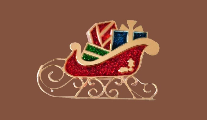 Christmas sleigh brooch