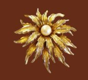 Dahlia gold tone faux pearl brooch