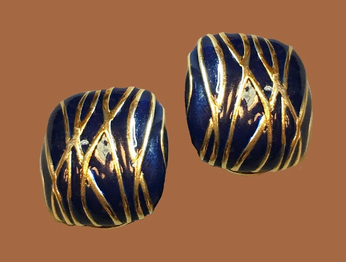 Dark blue enamel, golden stripes square earrings