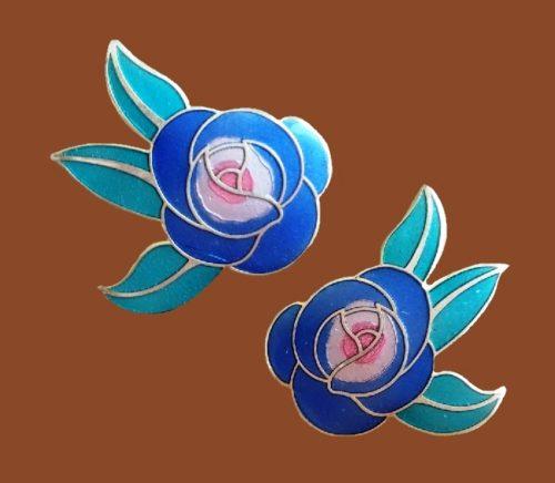 Deco rose enameled earrings