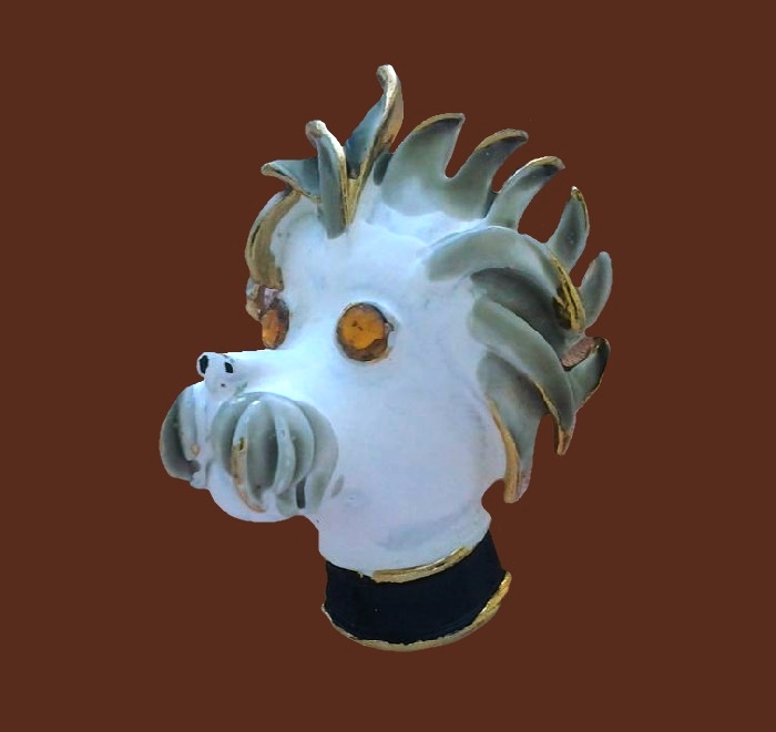Dog's head brooch. Jewelry alloy, enamel, crystals. 3.7 cm