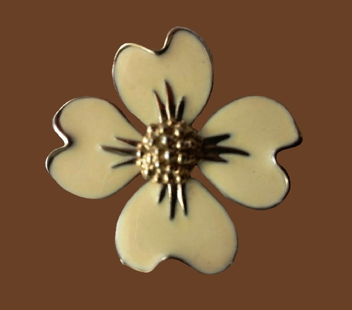 Dogwood flower enameled brooch