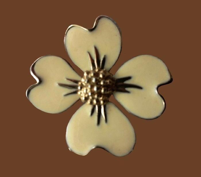Dogwood flower enameled brooch