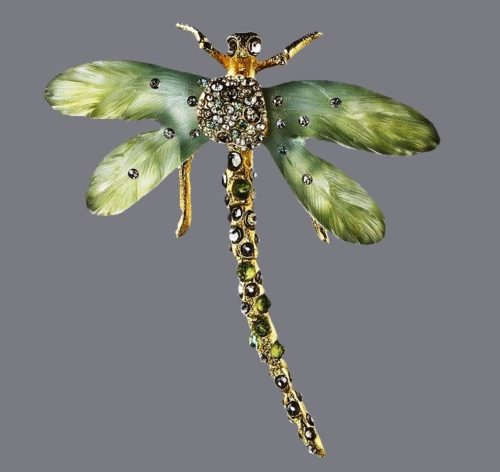 Dragonfly brooch. Jewelry alloy, rhinestones, crystals, plastic