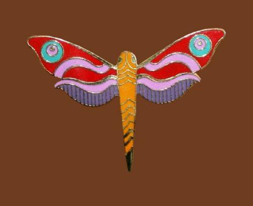 Dragonfly enameled brooch