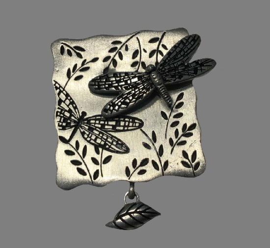 Dragonfly pewter brooch