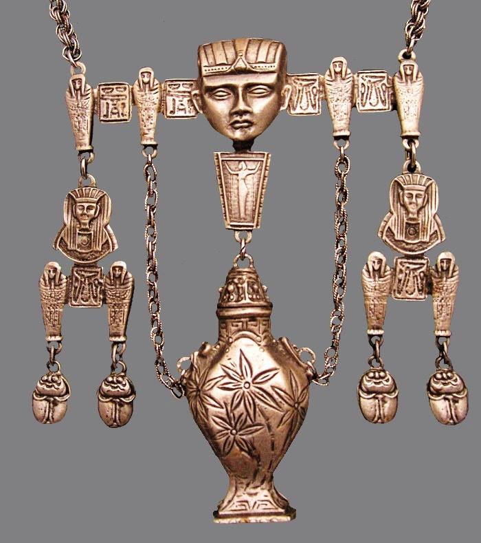 Egyptian Neferti Scarab Statement Necklace