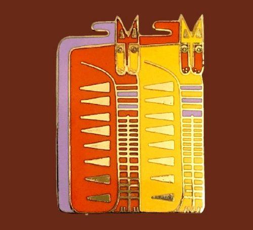 'Egypticat' signed brooch. Cloisonne enamel, gold tone finish