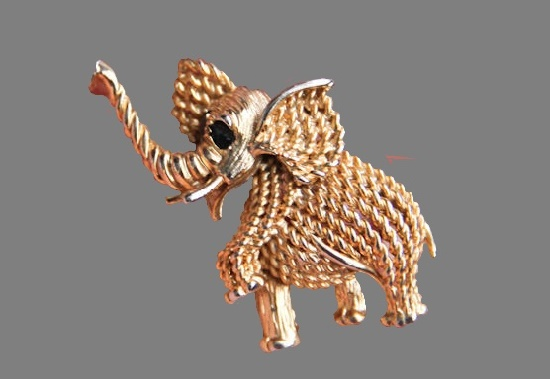 Elephant gold tone textured brooch. Jewelry alloy, enamel