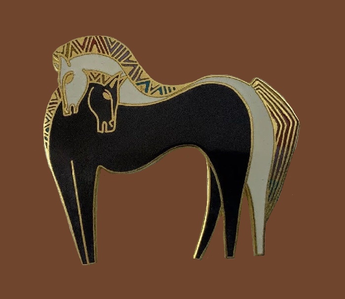 Embracing Horses brooch. Black and white enamel, gold tone metal