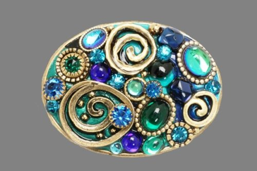 Emerald Oval Brooch. 24K gold, brass, enamel, glass cabochons and gems