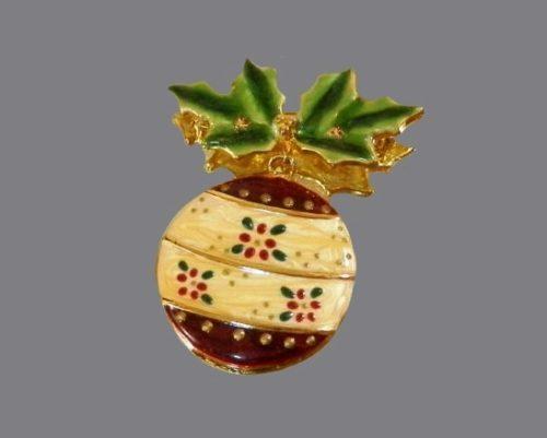 Enameled Christmas tree ball brooch. 1980s