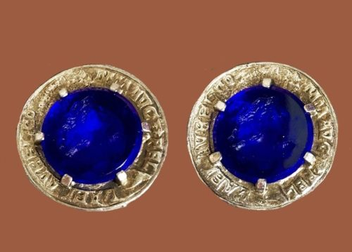 Faux sapphire vintage clips. Jewelry alloy, glass cabochons. 2.7 cm