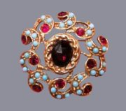 Faux turquoise and garnet brooch, Jewelry alloy, vintage