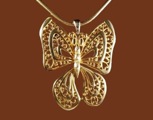 Filigree butterfly pendant, jewelry alloy, gold plated