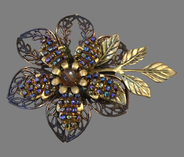 Flower brooch of jewelry alloy, crystals, enamel. 1970s