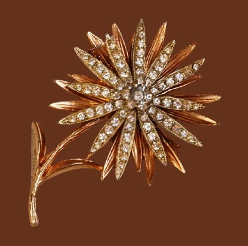 Flower brooch. Jewelry alloy, crystals, rhinestones. 6.5 cm