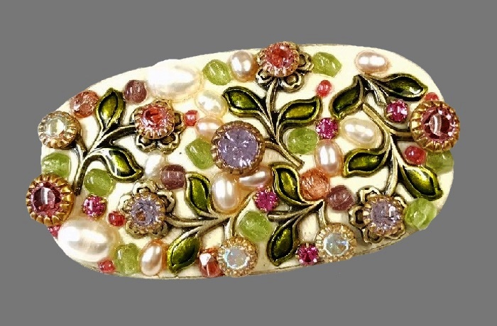 Flower garden oval brooch. Enamel, glass cabochons, fresh water pearls