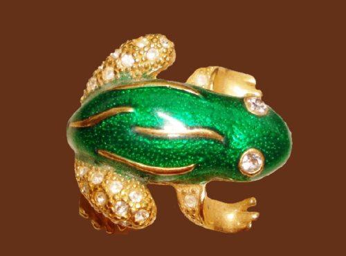 Frog brooch, green enamel, rhinestones, jewelry alloy