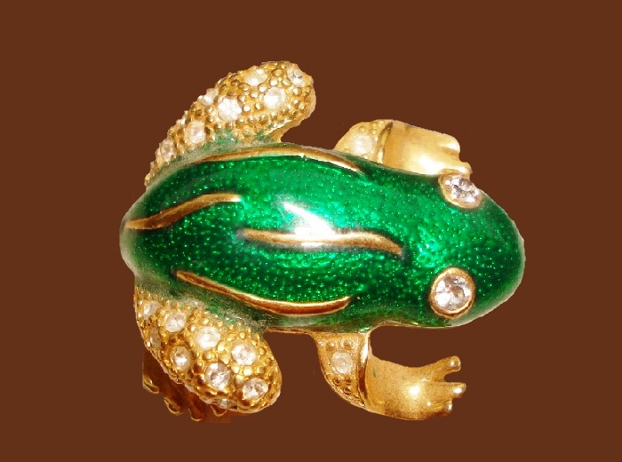 Frog brooch, green enamel, rhinestones, jewelry alloy