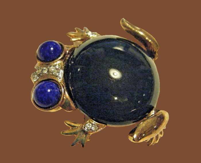 Frog brooch. Gold tone, Lapis Lazuli and lucite jade belly, rhinestones