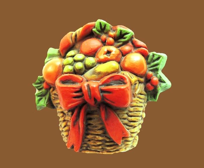 Fruit basket plastic brooch. 3.7 cm