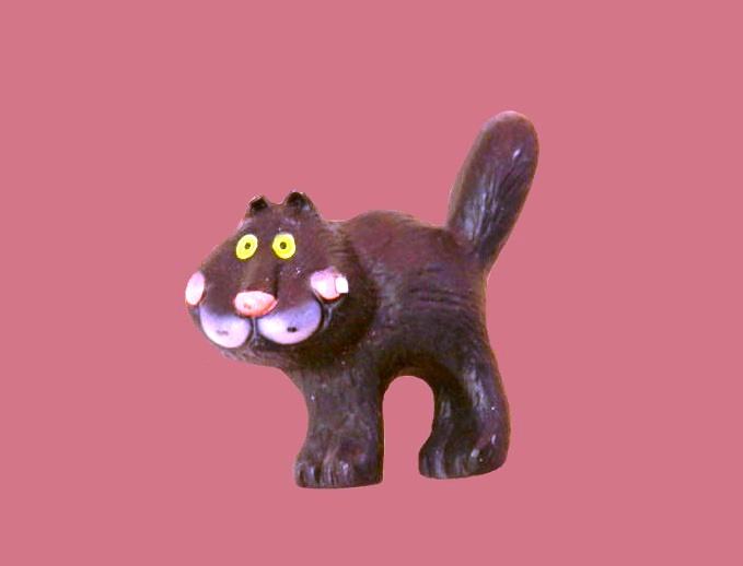Funny black cat vintage pin
