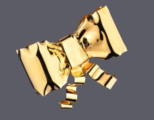 Gold bow ribbon bracelet