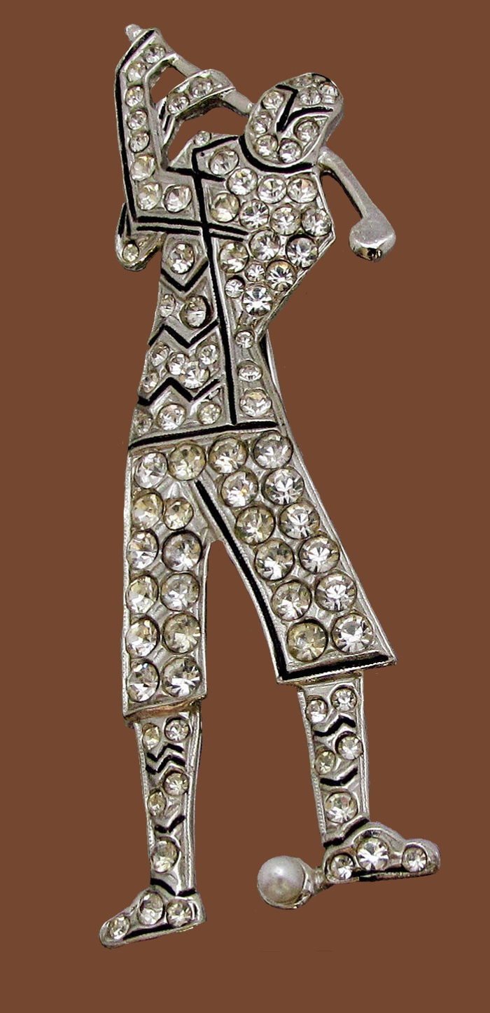 Golf player vintage Art Deco style brooch. Jewelry alloy, crystals
