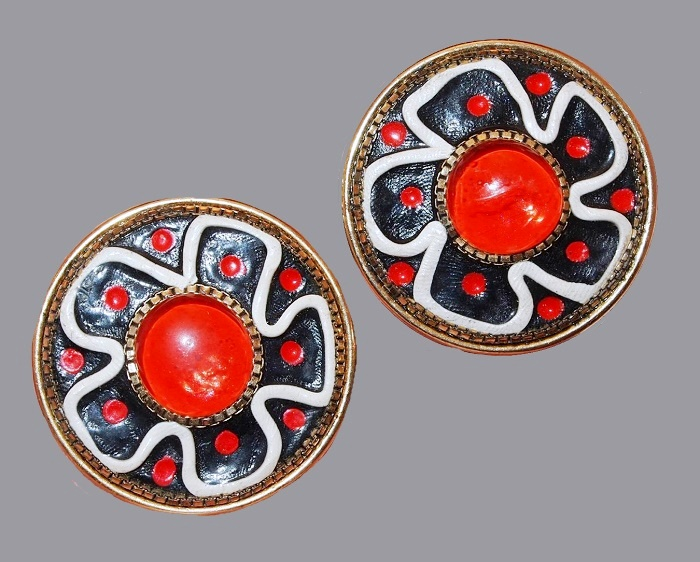 Gorgeous enameled flower earrings. Orange, blue and white enamel, jewelry alloy