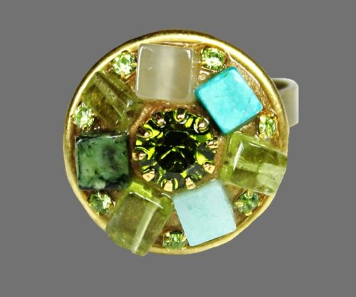 Green and turquoise stones gold plated ring