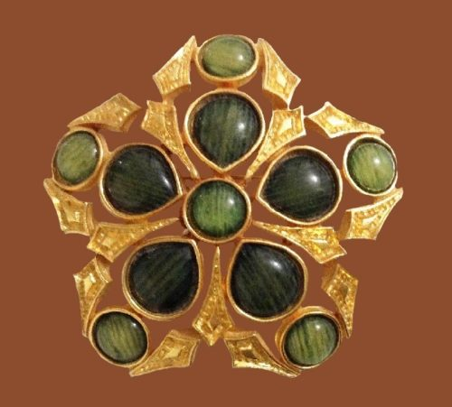 Green glass cabochons flower shaped brooch