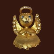 Guardian Angel brooch. Jewelry alloy, crystals