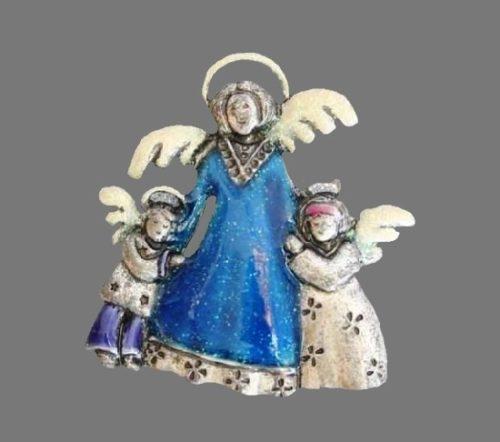 Guardian angel with angel children brooch. Silver tone metal, enamel. 1990s