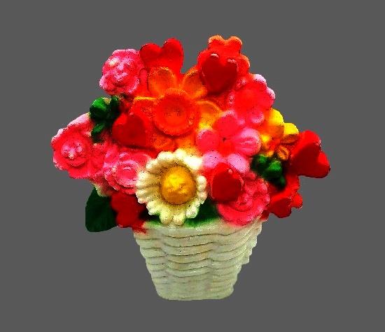 Basket of flowers brooch. Plastic, acrylic. 3.5 cm. 1950s