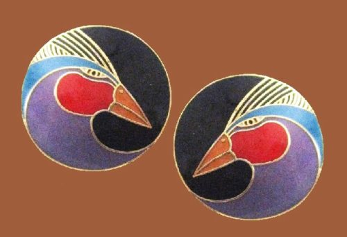 Harlequin Bird earrings, gold tone, enamel