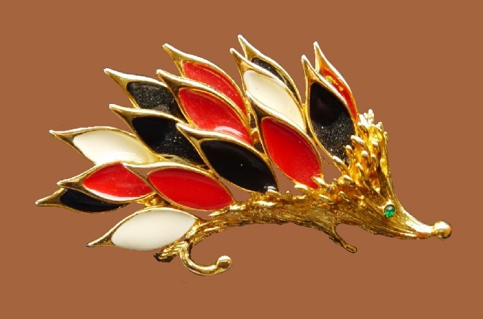 Hedgehog brooch. Gold tone jewelry alloy, red, black and white enamel