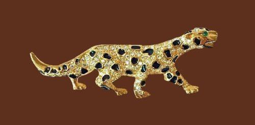 Jaguar enameled brooch. Rhinestones, jewelry alloy of gold tone, enamel