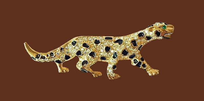 Jaguar enameled brooch. Rhinestones, jewelry alloy of gold tone, enamel