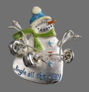 Jingle all the way signed Snowman brooch